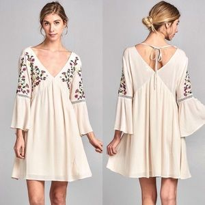 Boho Floral Embroidery Bell Dress
